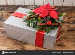 Weihnachts Geschenk Dekoration Mit Weihnachtsstern Blume