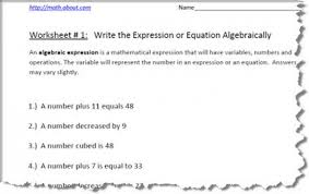 expression vs equation worksheets