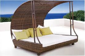 rattan outdoor pool sofa bed with