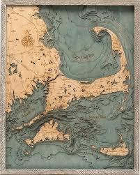 Cape Cod Islands 3 D Nautical Wood Chart 24 5 X 31 Rustic Farm Frame