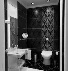 Bathroom:Nice Looking Small Bathroom With Black Tile Wall And White Vanity Decor  Idea Awesome