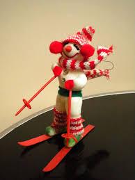 Vintage <b>snowman Decoration Ski</b> diorama <b>Christmas</b> holiday Winter ...
