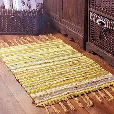 chindi rag rug yellow 20 x 31 machine washable cotton reversible rag rug hand woven multi color