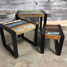 industrial wood furniture. Wonderful Industrial Industrial Wooden End Tables  Rustic Stacking Throughout Wood Furniture D