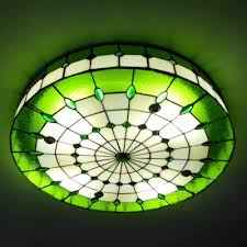 stained glass ceiling light. 3-light Round Shade 24 Inch Stained Glass Tiffany Flush Mount Ceiling Light