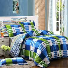 boys plaid bedding royal blue green and white unique plaid color block modern hipster style abstract