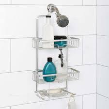 zenna home 7402al neverrust aluminum shower caddy satin chrome