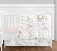 jojo perless moon stars pink gold celestial baby girls 4p crib bedding set