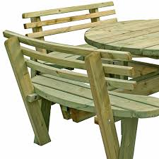 round picnic table with seat backs