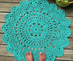 turquoise outdoor rug patio porch cord crochet in round pineapple pattern so cute and lime green turquoise outdoor rug