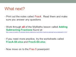 MATHEMATICS Adding & Subtracting with Fractions. Lesson Objectives ...