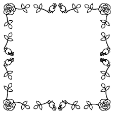 飾り枠白黒バラの花枠ふきだし無料イラスト素材