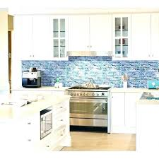 white kitchen cabinets with glass tile backsplash wall tile kitchen blue glass kitchen grey marble stone