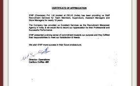 Appreciation Letters Testimonials Snp Overseas Global