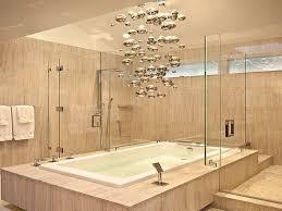 unique contemporary light fixture over the tub