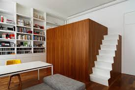 Studio Apartment With A Multifunctional Cubic Construction Loft Awesome 1 Bedroom Loft Minimalist Collection