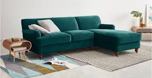 a right hand facing chaise end corner sofa in seafoam blue velvet