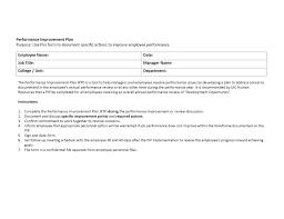 Improvement Plans Templates Sample Termination Letter For Poor Performance Elegant Improvement