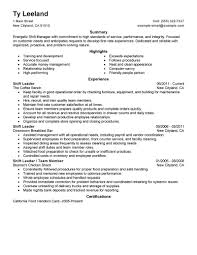 Shift Leader Resume Free Resume Example And Writing Download