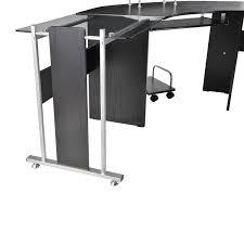 L Shaped Modern Desk Amazoncom Homcom 69 In Modern L Shaped Symmetrical Glasstop