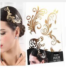 Hair Tattoo Necklace Flash Glitter Design Golden Temporary Tattoos