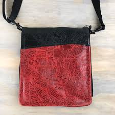 purse black red leather travel