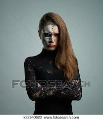 beautiful pouted woman with make up skeleton