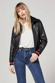 if you want a leather jacket but don t want the common tough moto look choose a trenr option this er leather er jacket with a sherpa collar is