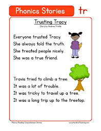 Phonics printable worksheets and activities (word families). Trusting Tracy Tr Phonics Stories Reading Comprehension Worksheet Have Fun Teaching