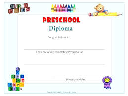 Kindergarten Diploma Template Free Graduation Certificate Printable