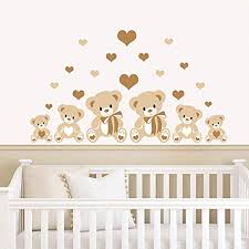 rubybloom designs teddy bears hearts brown childrens nursery printed wall art vinyl stickers on teddy bear wall art for nursery with rubybloom designs teddy bears hearts brown childrens nursery