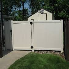 vinyl fence double gate. Lexington Gate - Almond: Avinylfence.com. \u2039 Vinyl Fence Double