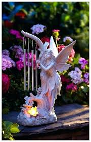 garden statue pixie with chime solar powered lawn ornaments outdoor patio decor landscape statues