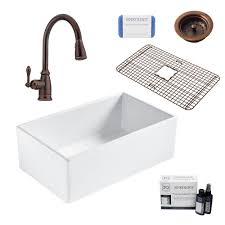 Sinkology Bradstreet Ii All In One Farmhouse Fireclay 30 In Single Bowl Kitchen Sink With Rustic Bronze Faucet And Drain