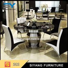 restaurant furniture round table black glass dining table