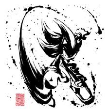 ソニックザヘッジホッグ28周年記念和柄アイテム墨絵 超音速針鼠