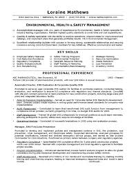 Environmental Health & Safety Sample Resume
