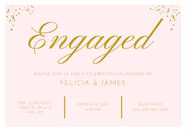 Opening Invitation Card Sample Pink Gold Elegant Engagement Invitation Card Templates By Canva