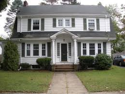 exterior colonial house design. Small Colonial House Plans White Wall Grey Roof Window Panes Simple Chandelier Dutch Revival Brick Full Exterior Design