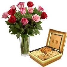 orted dryfruit with roses vase