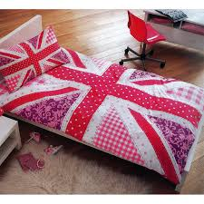 girls pink union jack single duvet cover bed sheet set