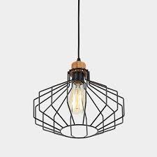 timber lantern cage pendant light