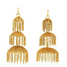 antique anglo indian high karat gold chandelier earrings for