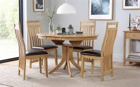 hudson bali round extending oak dining table and 4 6 chairs set brown