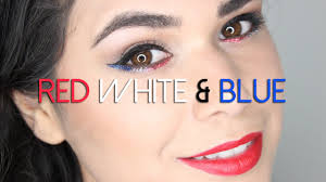 4th of july makeup red white blue sparkles