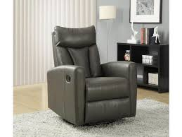monarch specialties charcoal grey bonded leather swivel glider recliner i 8087gy