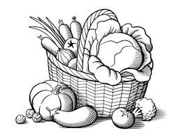 fruit bowl clipart black and white. Plain Clipart Basket With Vegetables Stylized Black And White Vector Illustration  Cabbage Pumpkin Eggplant And Fruit Bowl Clipart Black White I