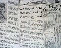 Details About Seabiscuit Wins Riggs Handicap Pimlico Horse Racing Victory 1937 Old Newspaper