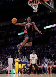 terrence ross of the toronto raptors takes his turn the slam dunk during nba all jeremy evans