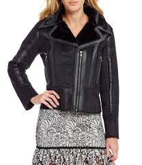 black moto devlin evie faux leather shearling moto jacket womens black